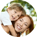 happy mother and son by Lincoln family dentists