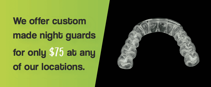 Banner from Nebraska Family Dentistry showing that we are able to make custom night guards for only  $75 at any of our locations.