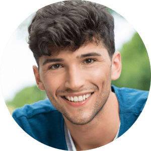 young man bright smile from dentist near me